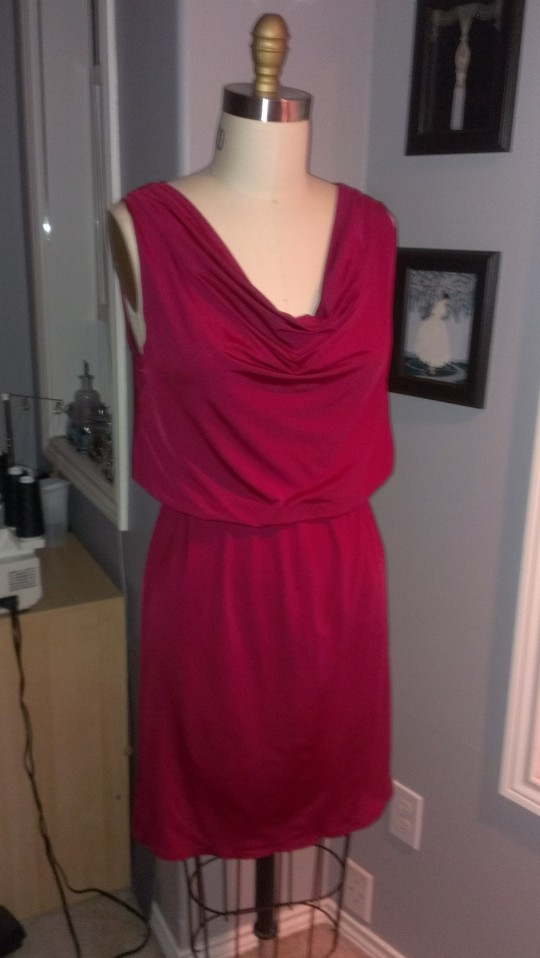 McCalls 6069 Red Drape Neck dress