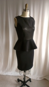 Leather inset peplum top and skirt