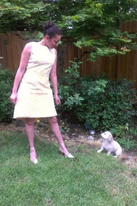 My little boo Gidget Louise likes my dress