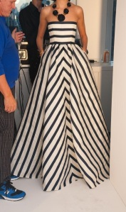 Oscar de la Renta Mitered Striped Strapless Gown