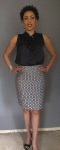 Pencil skirt made with geometric jaquard Italian cotton fabric from Mood