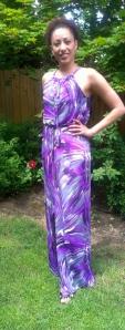 Brushstroke printed jersey knit maxi dress