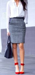 Tweed pencil skirt with leather.