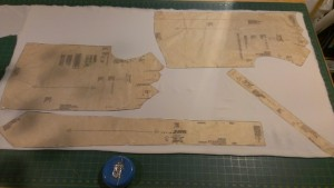 The fabric and pattern pieces pinned and ready to cut out