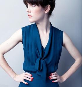 floppy bow sleeveless silk blouse