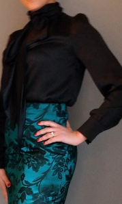blouse worn with skirt