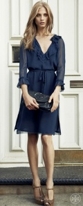 Tory Burch blue ruffled dress