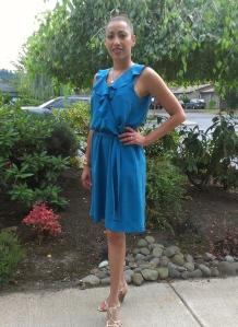 ruffle neckline blouson dress in silk