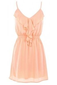 tank dress in peach with neckline ruffle