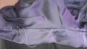 slip stitching of collar interior by hand