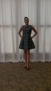 Vogue 1348 in striped silk dupioni