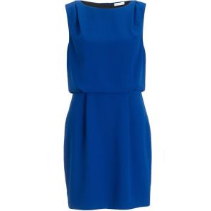 Sheath dress with waistline in blue