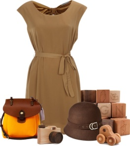 Sheath dress in Tan with self belt