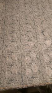 Embellished ruffled tulle fabric