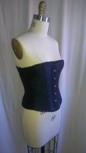 Laughing Moon Mercantile pattern #100 corset made in polyester jacquard with velvet and ruffle trim