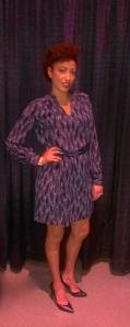 Wearing my new silk dress!
