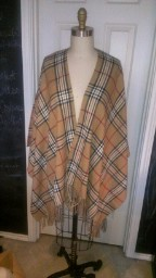 Plaid Shawl with fringe