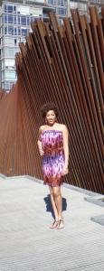 Silk Charmeuse Print Strapless Dress