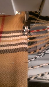 Top stitching the fringed edge
