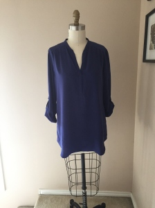 Crepe de chine tunic blouse in colbalt blue