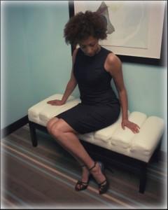 Denim dress on bench