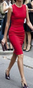 Red fitted sheath dress