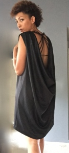 Back of draped back dress