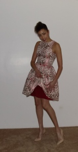 this dress is fully lined in red silk crepe de chine