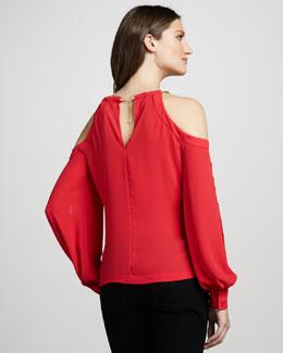 BCBG open shoulder crepe blouse 178
