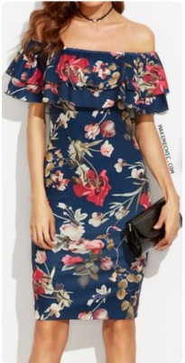 off shoulder floral ruffle dress