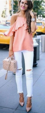 coral cold shoulder ruffle top