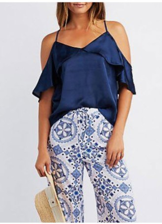 navy cold shoulder ruffle top