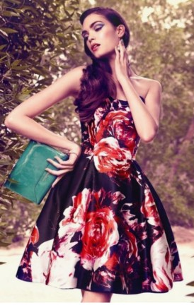 Carolina Herrera Floral Strapless Dress