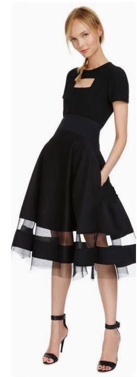Donna Karan Sheer Inset Skirt