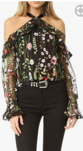floral cold shoulder long sleeve top