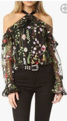 floral cold shoulder long sleeve top