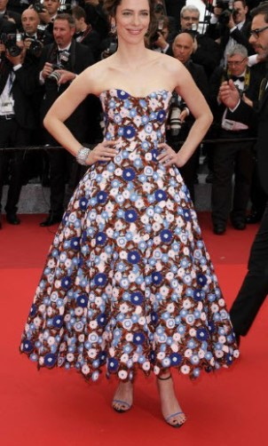 Dior floral embroidered dress at Cannes