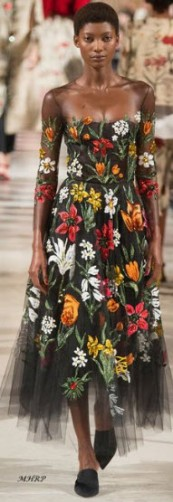Oscar de la Renta embroidered mesh dress